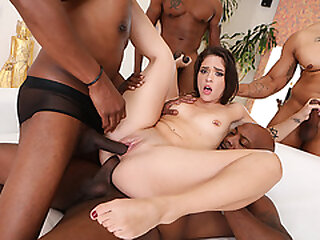 Cute latina double penetrated by 4 bbcs